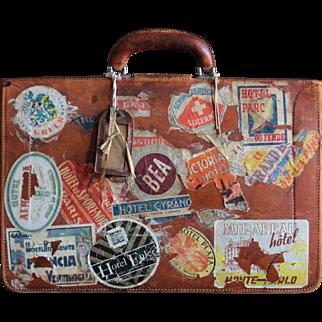 Vintage English Pendragon Leather Attache Briefcase - Travel Bag Satchel - VIntage Luggage