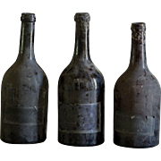 19th Century French Blown Glass Wine Bottles - Antique Burgundy Blown Glass