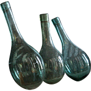 Antique 19th century Blown Glass Round Bottom Bottles / Mini Demijohns - Ballon Bottoms