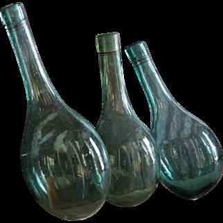 Antique 19th century Blown Glass Round Bottom Bottles / Mini Demijohns - Ballon Bottoms