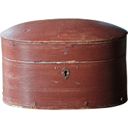 Antique Norwegian Bentwood Oval Storage BOX - 19th Century Scandinavian Painted Folk Art Pantry / Trinket Box