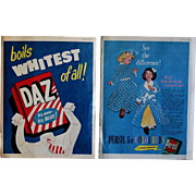 Vintage 1950s English Daz & Persil Laundry Detergent Washing Powder Adverts