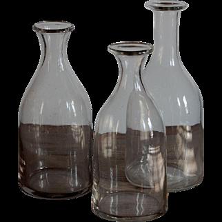 Antique French Normandy Glass Cider / Bistro Carafes - Trio