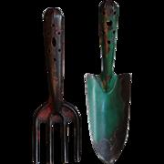 Vintage English Garden Spade & Trowel -Garden Tools