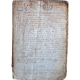 1735 Antique French Handwritten Notary Manuscript Register