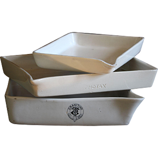 Vintage Darkroom Porcelain Photographic Developing Trays - Vintage Film / Photo Equipment