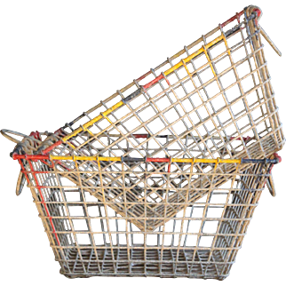 Vintage French Oyster Basket PAIR - Galvanized Metal Wire Harvest Basket