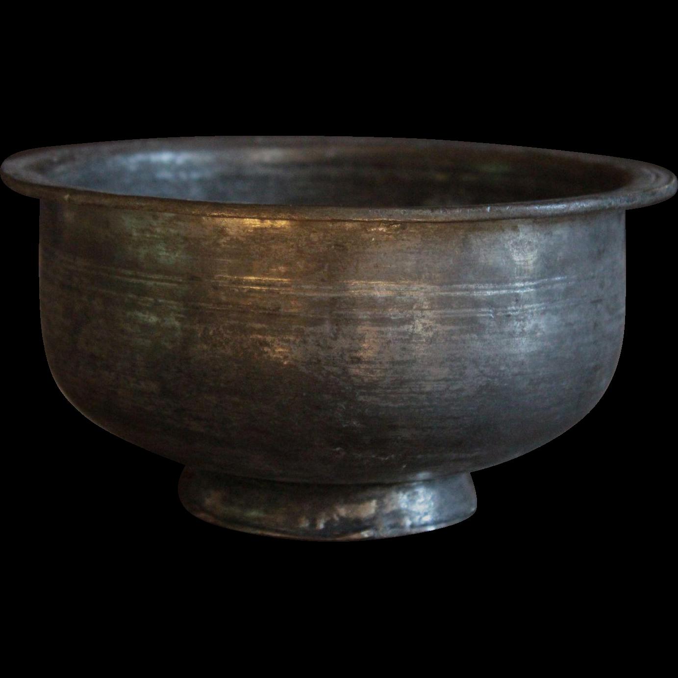 Antique Ottoman Tinned Copper Bowl