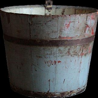 Antique Primitive Maple Sap Bucket - Painted Wooden Folk Art Bucket