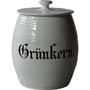Antique German Grünkern Kitchen Storage Jar / Canister
