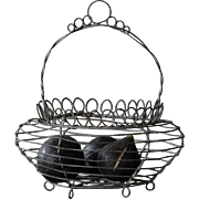 Antique French Wire Work Egg Basket -