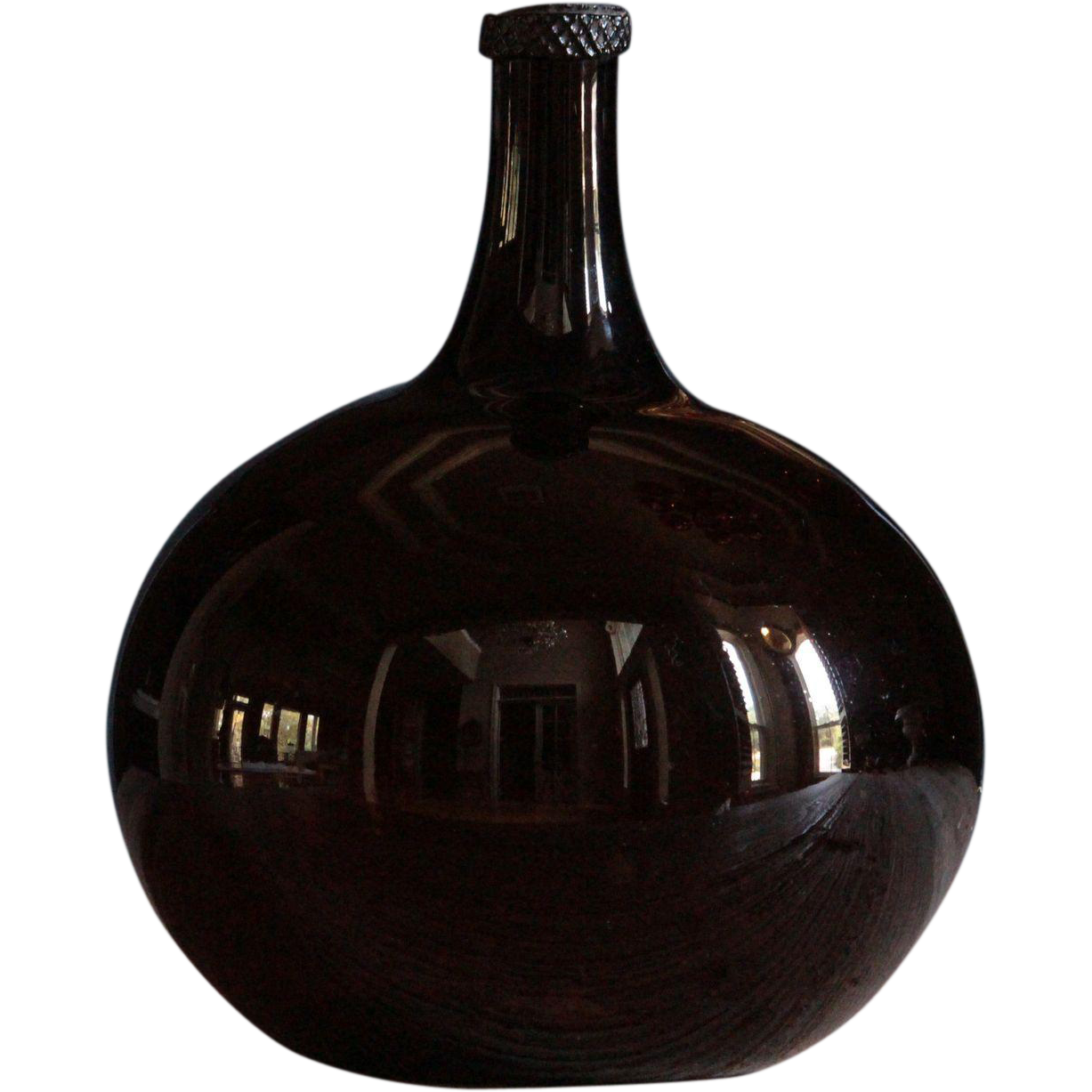 SMALL 19th Century French Amber Glass Wine Demijohn - Antique Cognac Bottle / Flask