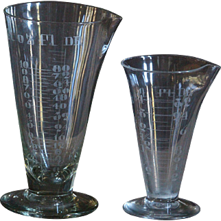 Antique English  Pharmacy Measuring Glass Beakers - Victorian Apothecary / Chemist