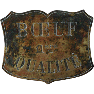 19th Century French Brass Butcher's Shop Sign