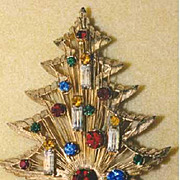 Signed *BROOKS* Vintage Christmas Tree Pin -  Book Piece, Classic