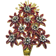 Beautiful Ornate Poinsettia Christmas Tree Pin - Book Piece