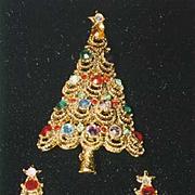 Fabulous Vintage Signed PAKULA Christmas Tree Pin/CLIP ER Set - Book Piece