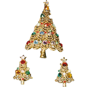 Fabulous Vintage Signed PAKULA Christmas Tree Pin/CLIP ER Set - Book Piece