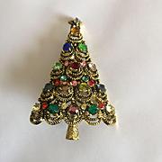 Beautiful Vintage Signed PAKULA Christmas Tree Pin - BOOK PIECE
