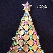 Vintage Signed Christmas Pin - MYLU - Book Piece