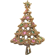 Wonderful BOOK PIECE Vintage Signed Christmas Tree Pin