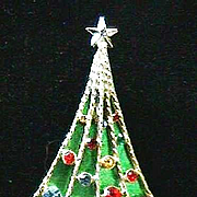 Beautiful Vintage Signed *BJ* Christmas Tree Pin - Book Piece
