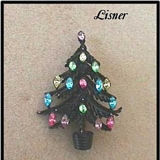 BEAUTIFUL *LISNER* Vintage Christmas Tree Pin