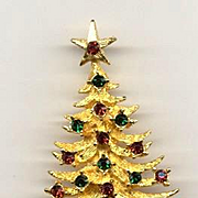 Beautiful Signed Vintage MYLU Christmas Tree Pin - Book Piece
