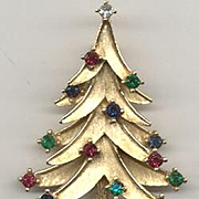 Classic Signed *TRIFARI* Christmas Tree Pin - Book Piece
