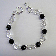 Beautiful Black Onyx/Swarovski Crystal Bracelet