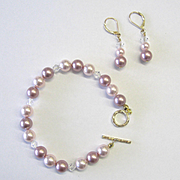 Lovely Pastel Rose & White Swarovski Pearl Bracelet/Earring Set