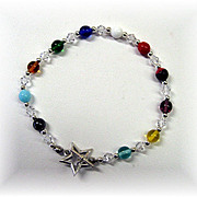Colorful Czech Glass/Sterling Silver Bracelet