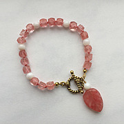 "Cherry ""Quartz"" /Mother-of-Pearl Bracelet"