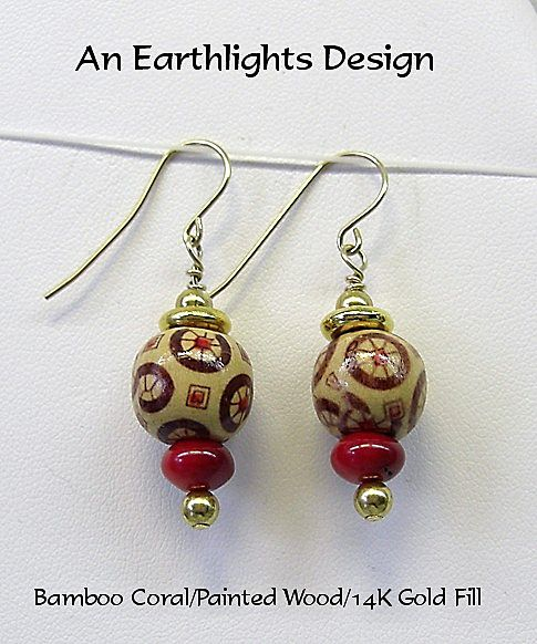 Bamboo Coral and Painted Wood Dangle Earrings