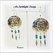 """Aztec""  -  Turquoise Dangle Earrings"