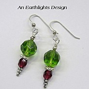Olive Green/Dark Red Swarovski Crystal Dangle Earrings