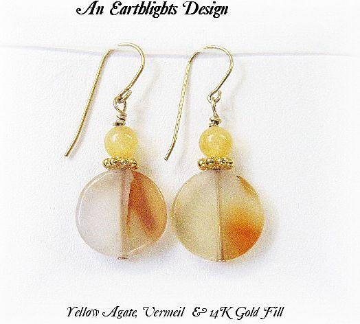 Yellow Agate Disc Earrings