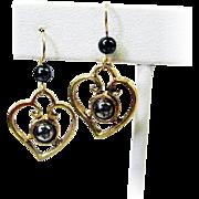Pretty Heart Shaped Earrings w/Hematite