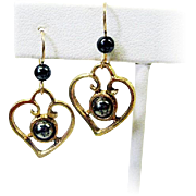 Pretty Heart Shaped Earrings w/Hematite