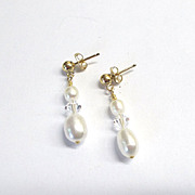 White Freshwater Pearl/Crystal Earrings