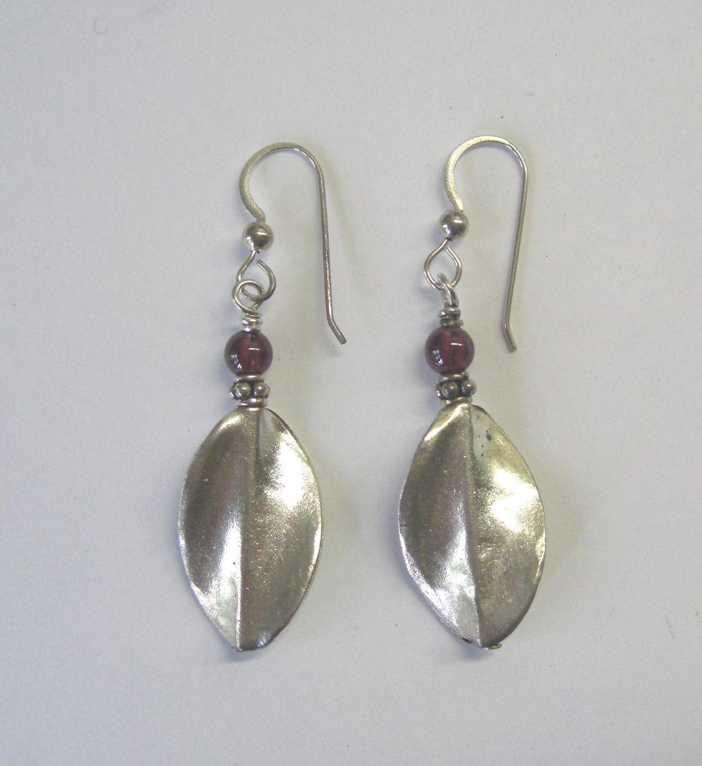 Hill Tribes Fine Silver w/Garnet Dangle Earrings