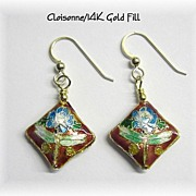 Beautiful Red Cloisonne Dangle Earrings