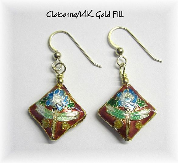 Beautiful Red Cloisonne Dangle Earrings