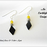 Black Onyx/Yellow Agate Dangle Earrings