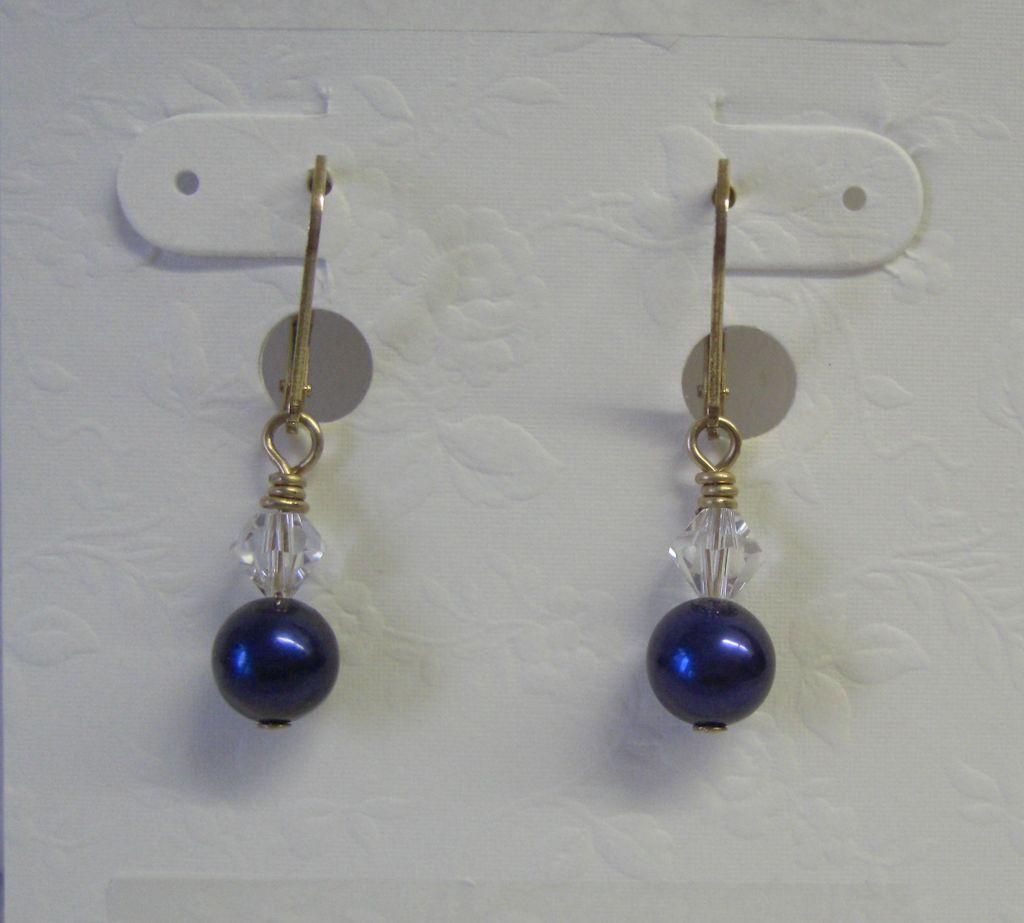 Dark Blue Freshwater Pearl/Crystal Dangle Earrings