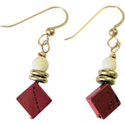 Red Jasper and White Bone Earrings