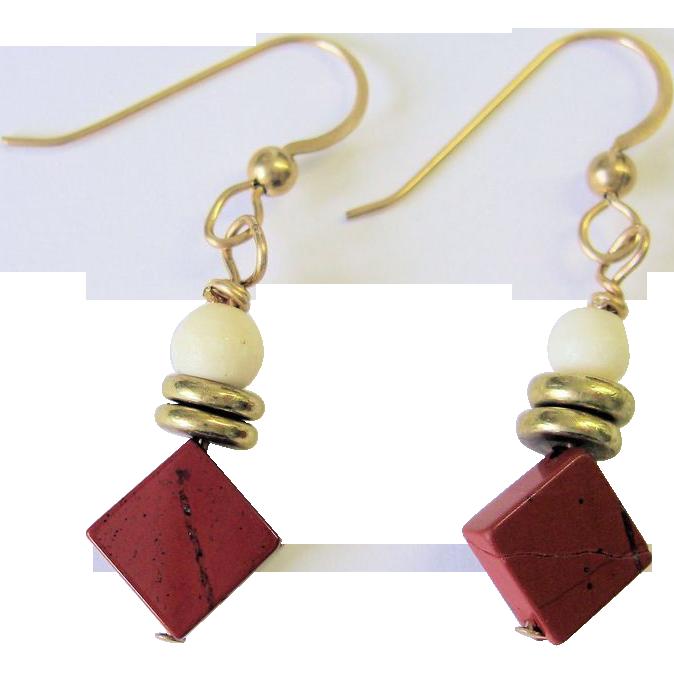 Red Jasper and White Bone Earrings