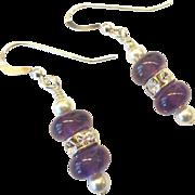 Amethyst/Pearl/Rhinestone Earrings