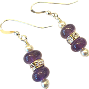 Amethyst/Pearl/Rhinestone Earrings