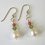 Freshwater Pearl/Crystal Earrings